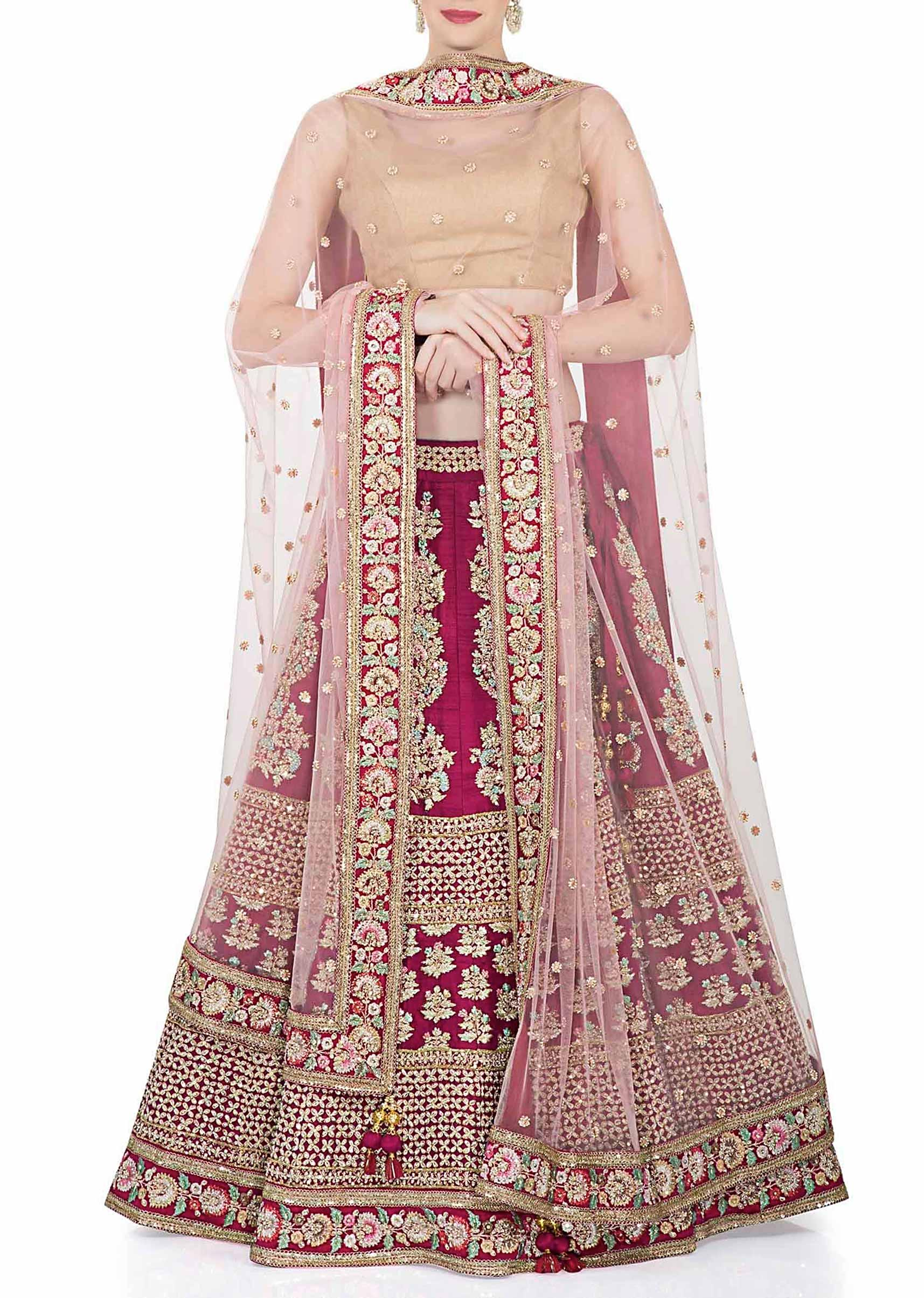 f8e8c55c8f Rani Pink Raw Silk Lehenga, Blouse and Pink Net Dupatta with Resham,  Sequins and Zari only on KalkiMore Detail