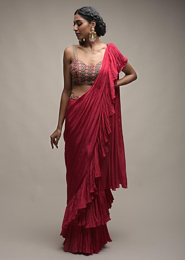 Rani Pink Ready Pleated Ruffle Saree Paired With A Spring Blossoms Embroidered Crop Top Online - Kalki Fashion
