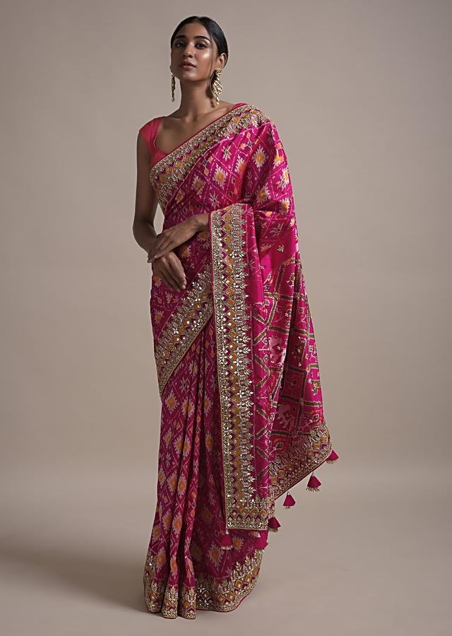 Rani Pink Saree In Silk With Ikkat Weaved Patola Pattern All Over And Gotta Embroidered Border Online - Kalki Fashion