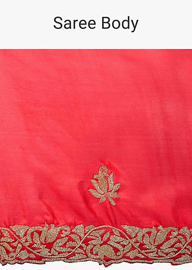 Rani Pink Saree In Satin Embellished With Cut Dana Embroidered Butti And Border Online - Kalki Fashion