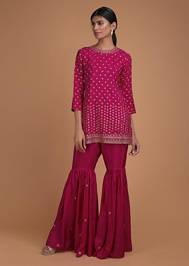 Rani Pink Sharara Suit In Satin Crepe With Short Kurti And Sequins Embroidered Buttis Online - Kalki Fashion
