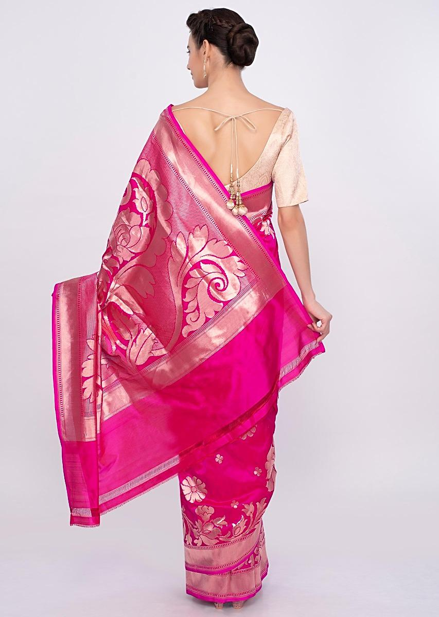 Buy Rani Pink Saree In Silk With Weaved Butti And Border Online Kalki Fashion The delicate asawali pallu uses shades of the sunset: buy rani pink saree in silk with weaved