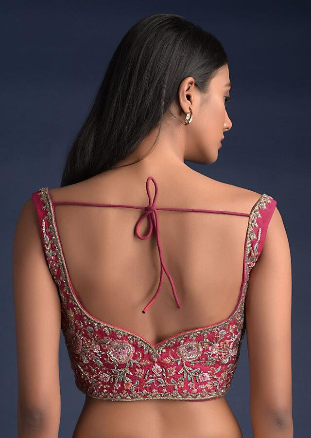 Rani Pink Sleeveless Blouse In Raw Silk With Floral Jaal Embroidery Online - Kalki Fashion