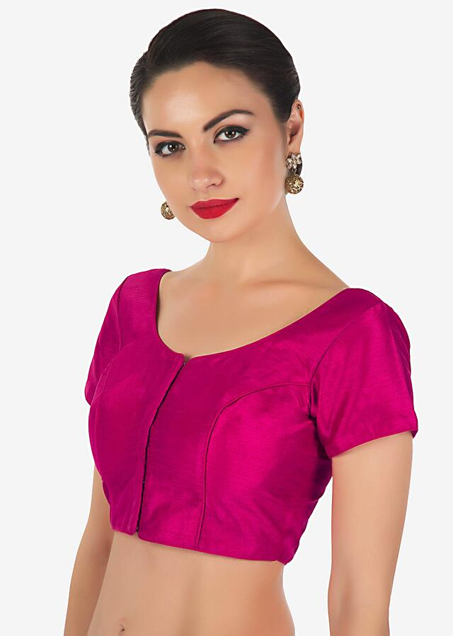 Rani pink blouse in raw silk with princes line only on Kalki