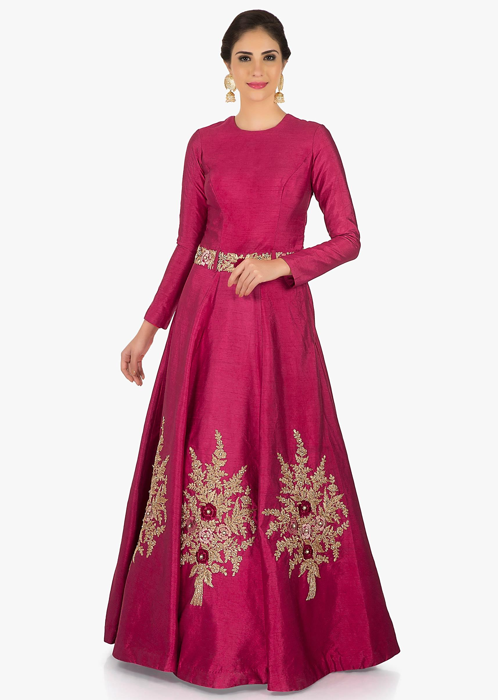 c799515ae9ee1b Rani Pink gown in raw silk engraved in heavy zari and moti work only on  KalkiMore Detail