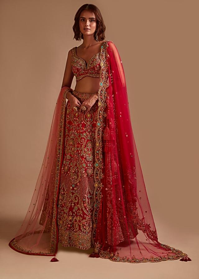 Rani Pink Lehenga Choli In Raw Silk With Hand Embossed Embroidery In Heritage Floral Motifs And 3D Work Details Online - Kalki Fashion
