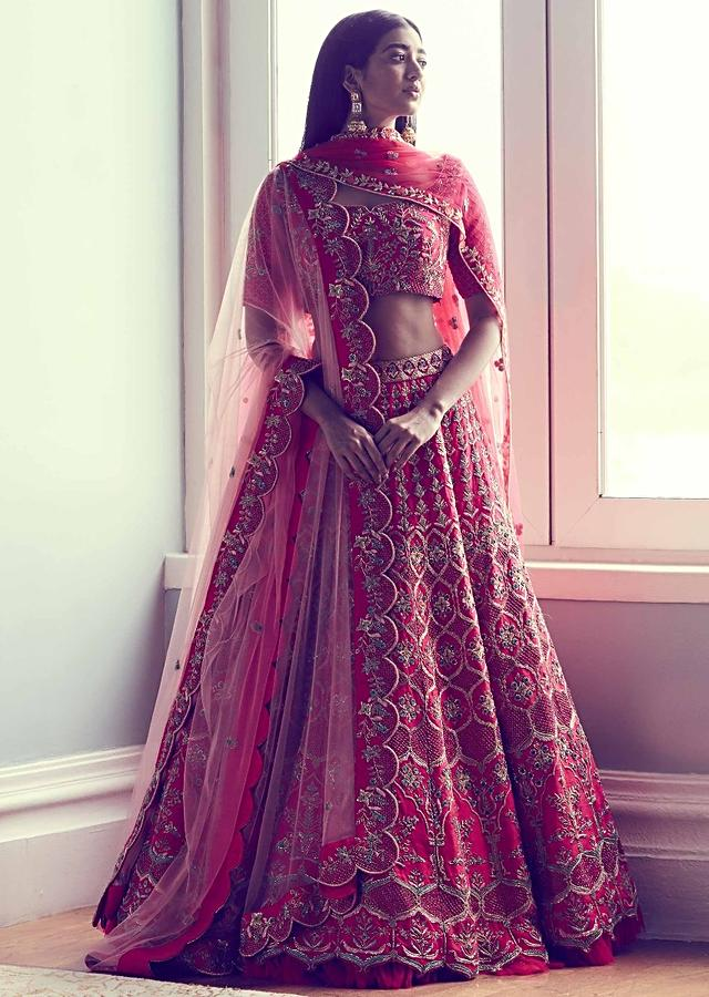 Rani Pink Lehenga Choli With Mughal Jaal Embroidery And Baby Pink Dupatta Online - Kalki Fashion