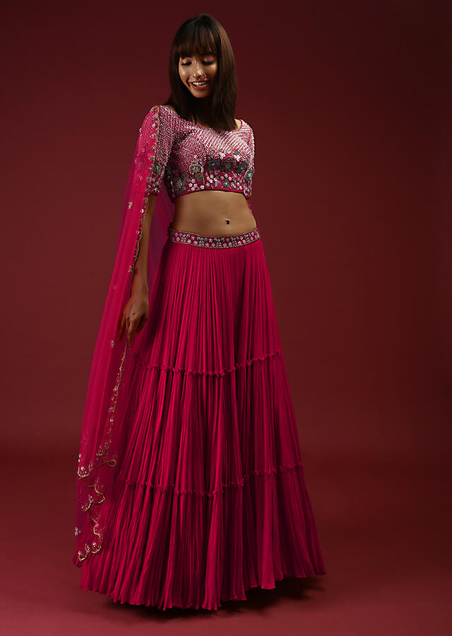 Rani Pink Lehenga Choli With Multi Colored Sequins And 3D Flowers Embroidered Floral And Checks Design Online - Kalki Fashion