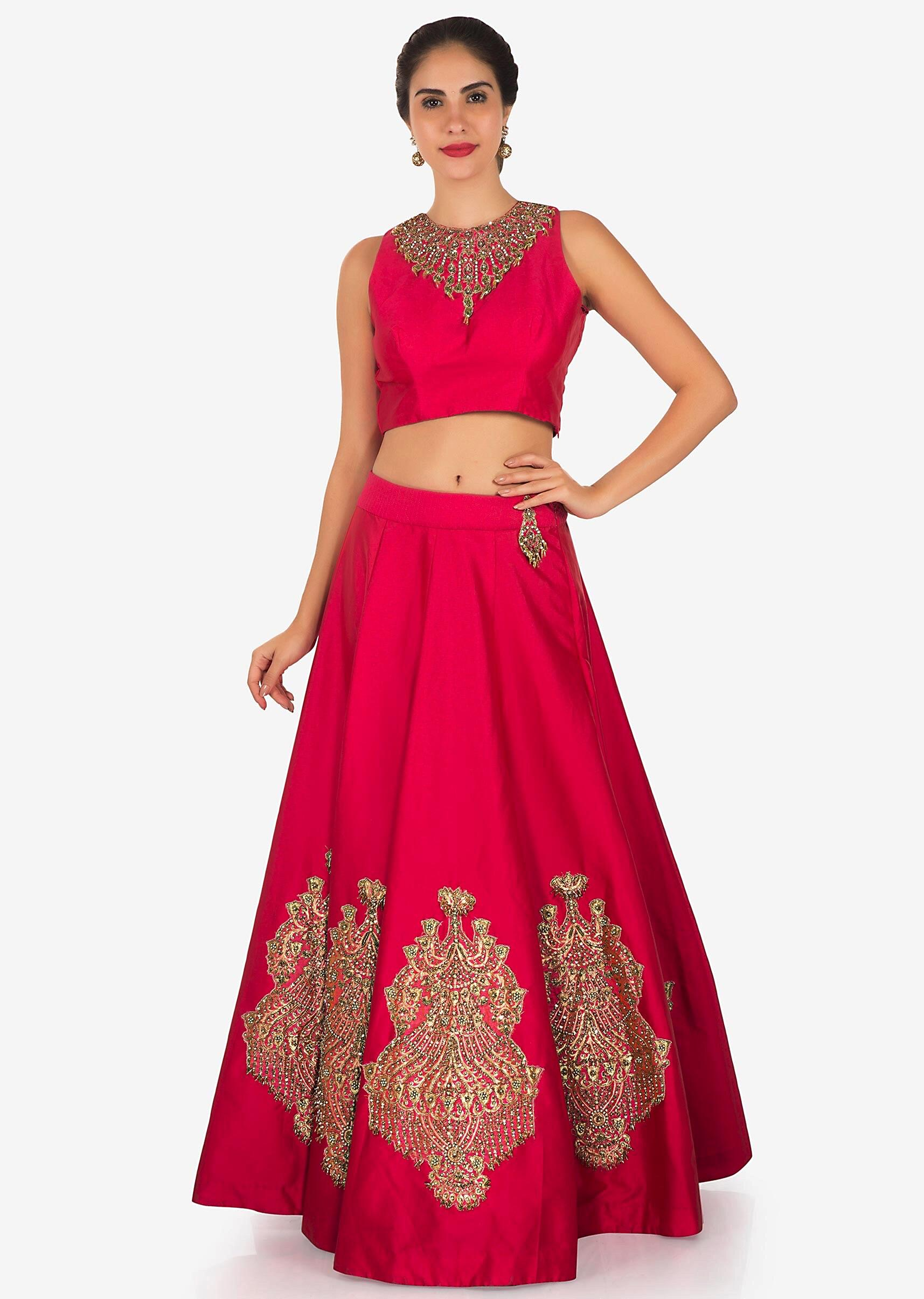 e02d9bda1d Rani pink lehenga in organza silk with moti and sequin work only on  KalkiMore Detail