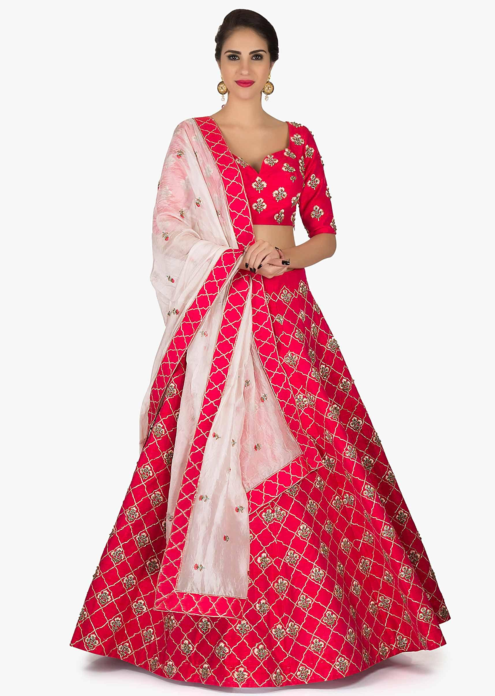 888adc33ec5b5 Rani pink lehenga in silk with a ready blouse flaunting the zari zardosi  work only on