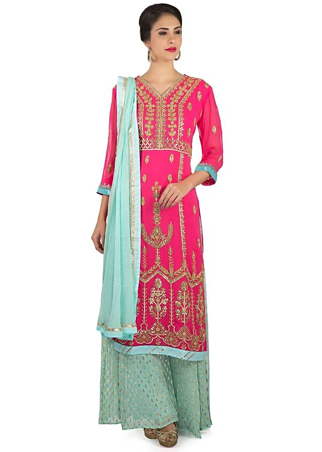 Rani Pink Straight Palazzo Suit In Gotta Lace And Patch Embroidery Online - Kalki Fashion