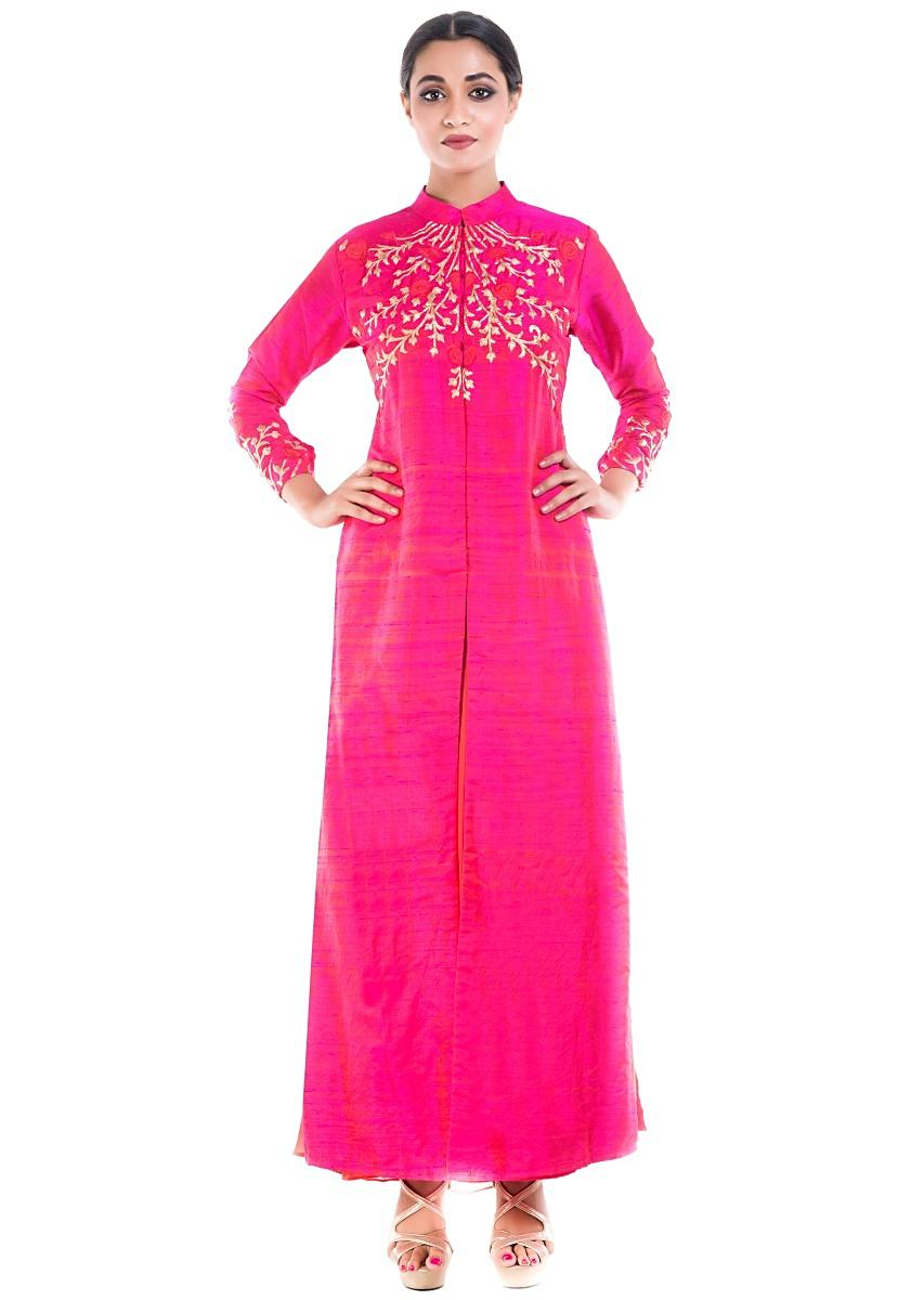6b245533424bf9 Raspberry Pink High Collar Kurta