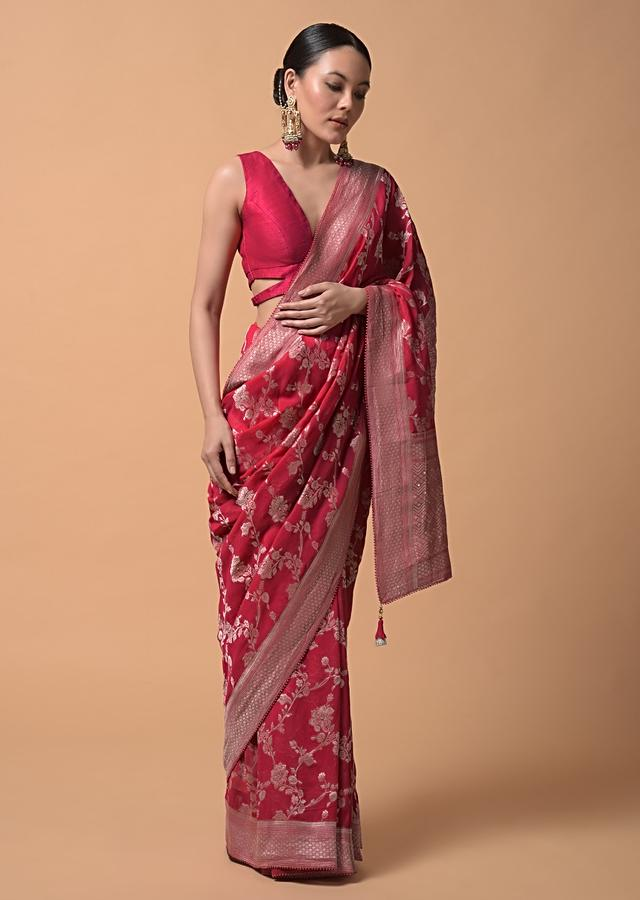 Raspberry Pink Saree In Georgette With Woven Floral Jaal And Bead Accents Online - Kalki Fashion