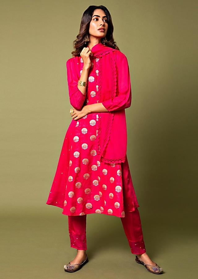 Raspberry Red A Line Suit With Hand Woven Banarasi On The Centre Kali And Cheeta Embroidery Online - Kalki Fashion