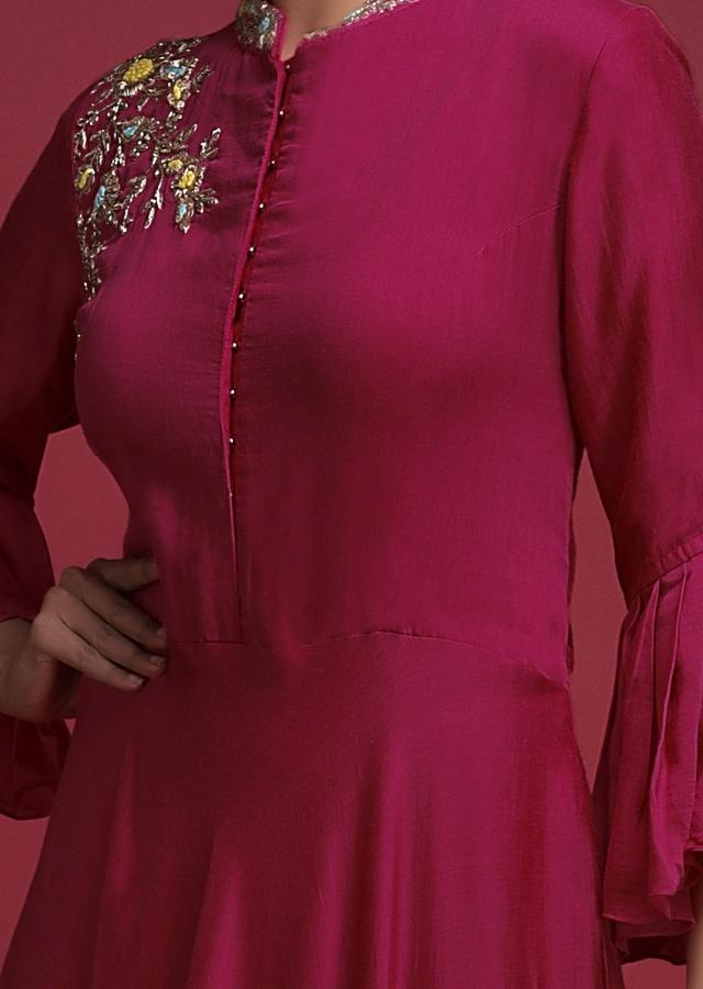 Raspberry Red Long Dress In Cotton With Ruffle Sleeves And Zardozi Embroidered Floral Pattern  Online - Kalki Fashion