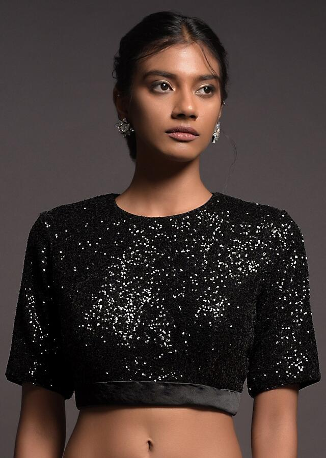Raven Black Blouse In Sequins Fabric With Satin Hemline And Half Sleeves Online - Kalki Fashion
