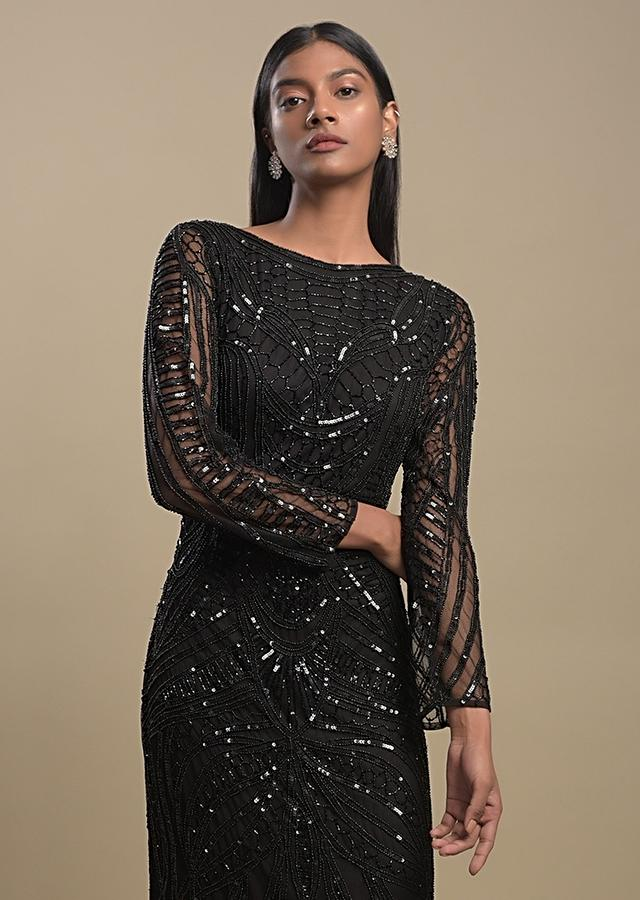 Raven Black Evening Gown In Net Heavily Embellished With Black Beads And Sequins Online - Kalki Fashion