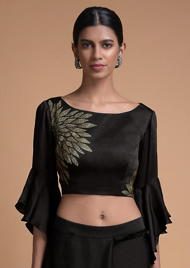 Raven Black Ready Pleated Saree With Kundan And Pleated Frill On The Border Online - Kalki Fashion
