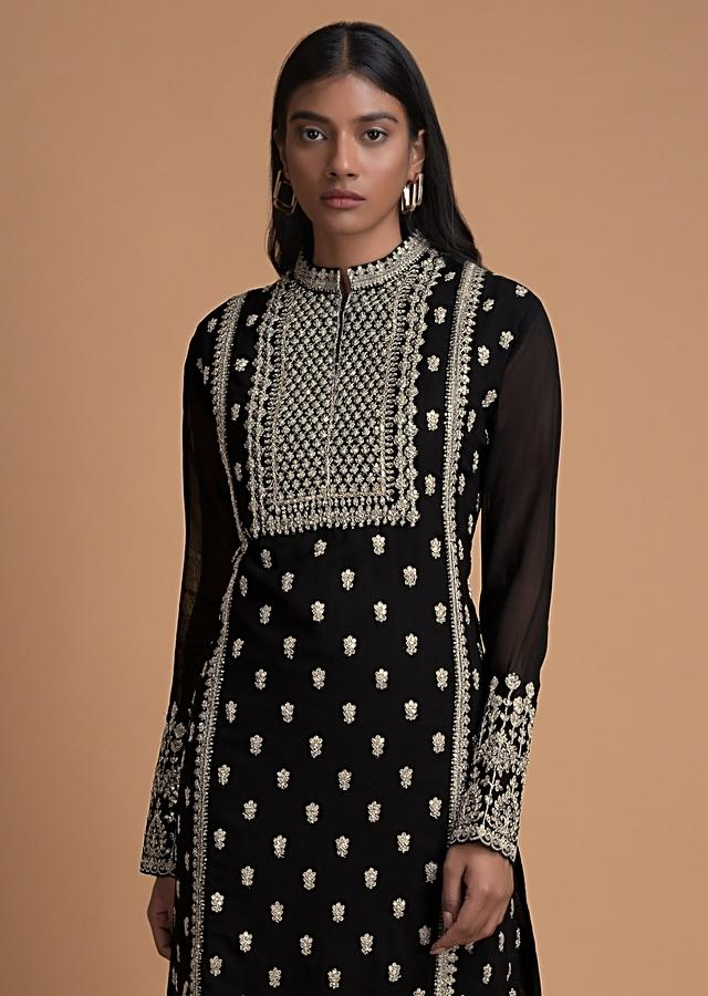 Raven Black Sharara Suit With Embroidered Floral And Ethnic Pattern Online - Kalki Fashion