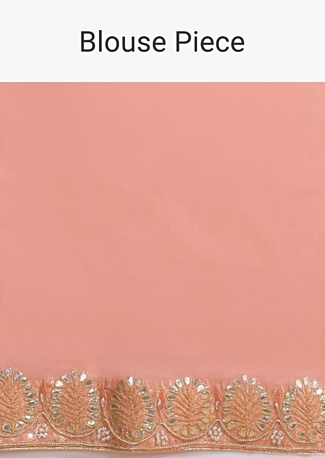 Ravishing Peach Saree In Linen Silk With Gotta Patch Embroidery In Floral Buttis And Leaf Pattern Online - Kalki Fashion
