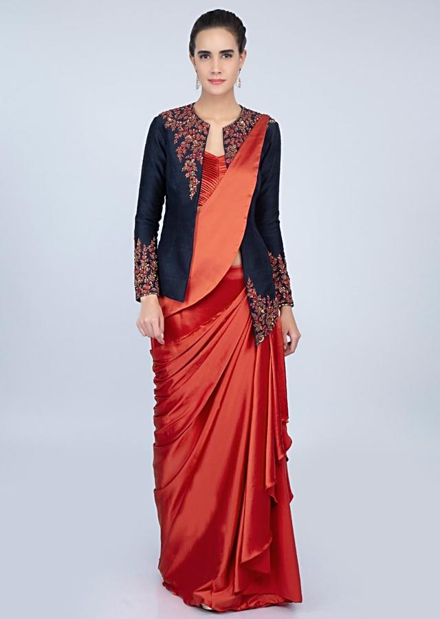 Rebel Red Ready Plated Saree In Satin With Pleated Strap Blouse And Navy Blue Raw Silk Jacket Online - Kalki Fashion