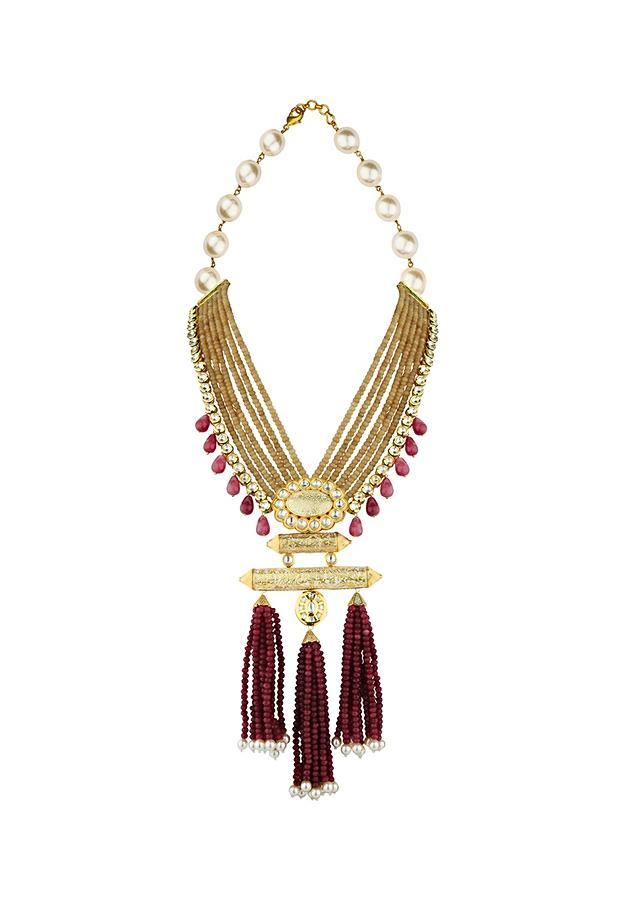 Red And Gold Agate Necklace And Earrings Set With Hydro Kundan, Shell Pearls And Tassel Detailing Online - Joules By Radhika