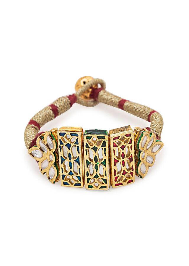 Red And Gold Carved Meenakari Bracelet With Hydro Kundan Polki In Floral Motifs And Silk Thread Band Online - Joules By Radhika