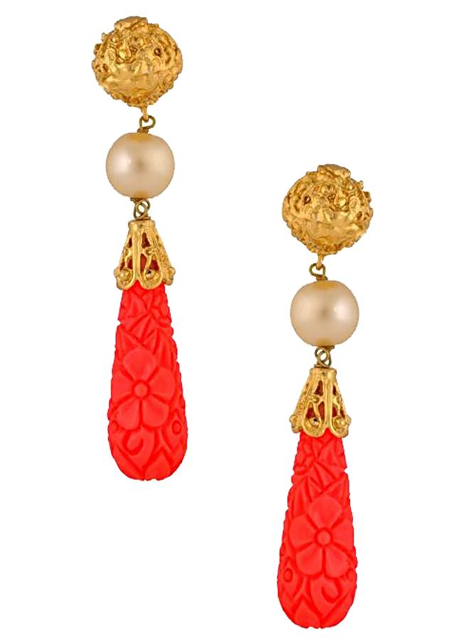 Red and gold earring enhanced with pearls