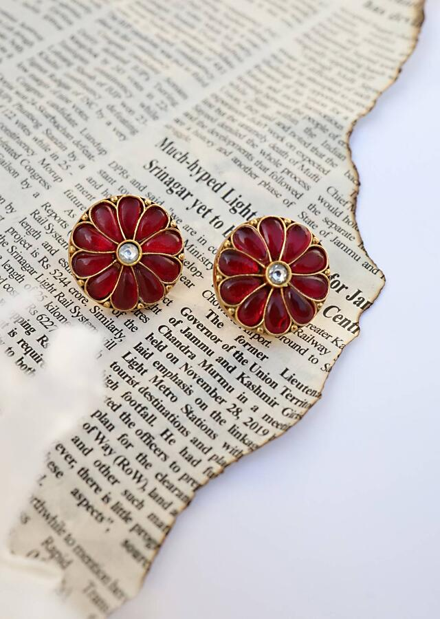 Red And Gold Stud Earrings In Floral Shape Studded With Ruby Red Stones And Kundan By Paisley Pop
