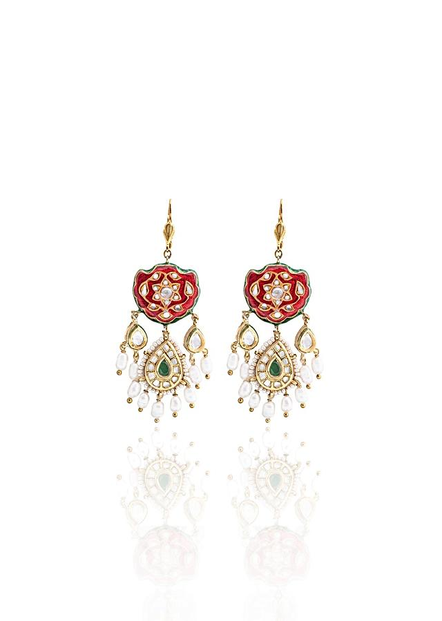 Red and Gold Tone Earrings With Meenakari, Kundan, Pearls And Green Hydro Emeralds Joules By Radhika
