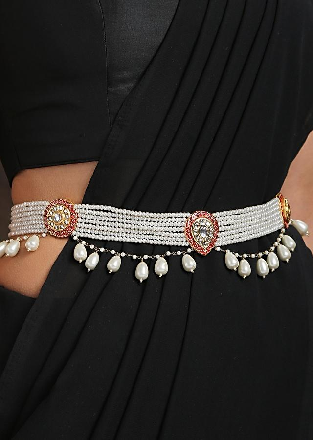 Red And Gold Waist Belt With Elegant Polki, High Grade Shell Pearl Strings, Pearl Drops And Detailed Mina Kari By Paisley Pop