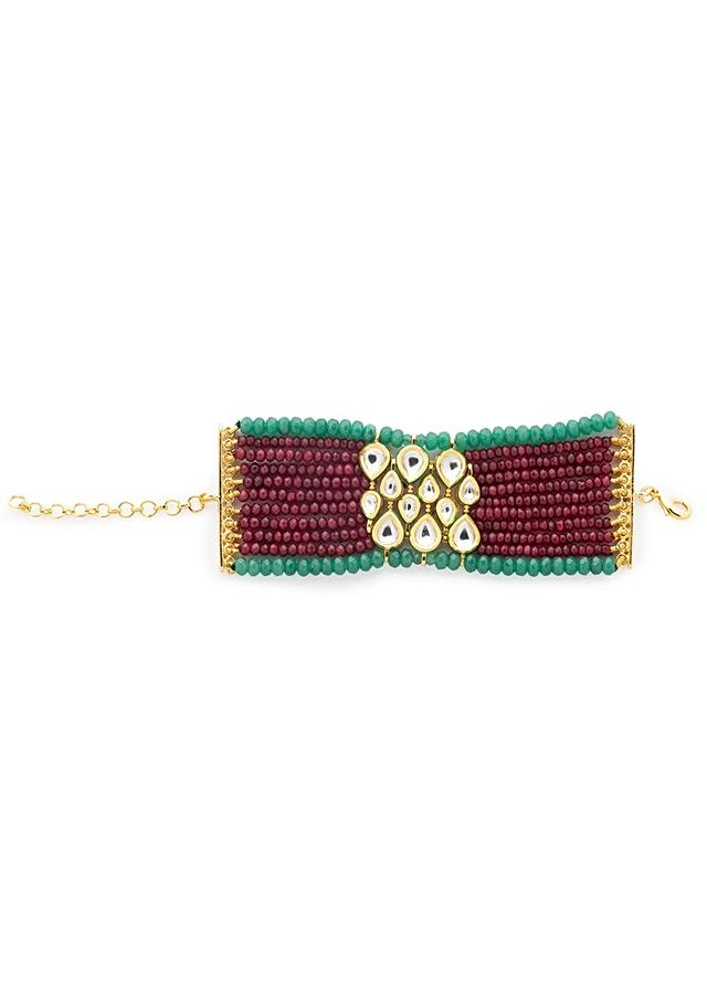 Red And Green Bracelet With Agate Strings And Hydro Kundan Polki Work In The Centre Online - Joules By Radhika