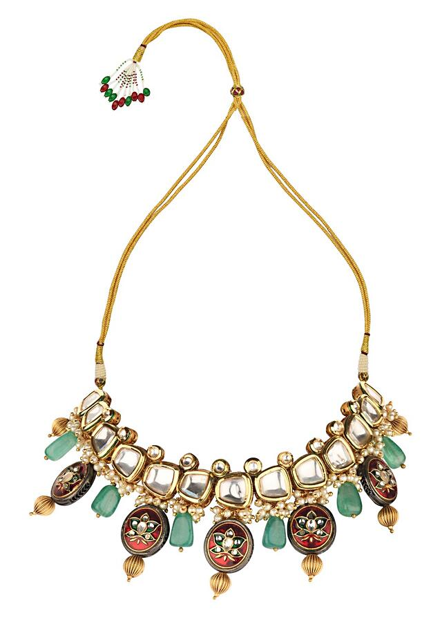 Red And Green Enamelled Necklace And Earrings Set With Kundan, Quartz Beads And Shell Pearls Online - Joules By Radhika
