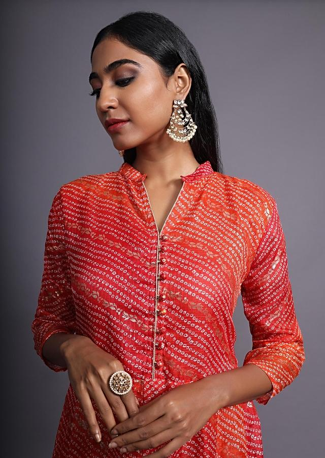 Red And Orange Shaded Anarkali Dress With Bandhani And Foil Print In Chevron Pattern Online - Kalki Fashion