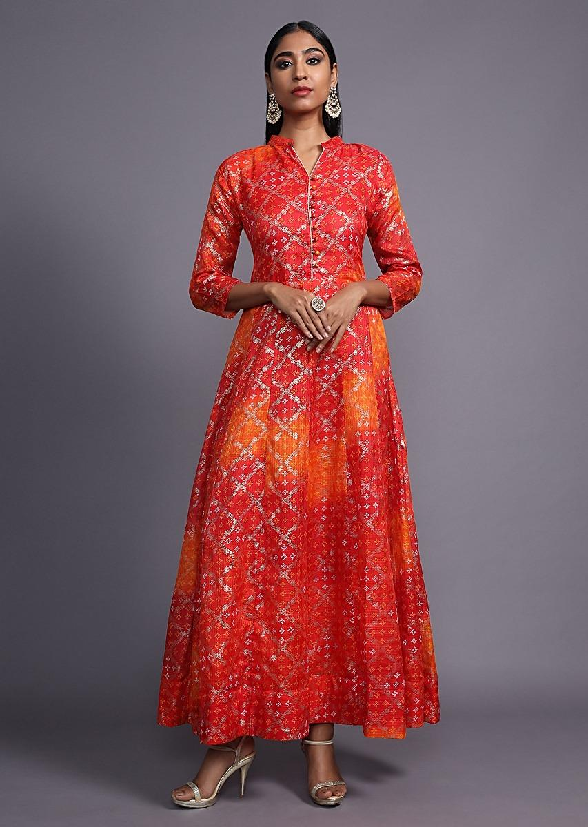 Red And Orange Shaded Anarkali Dress With Bandhani Printed Buttis And Foil Printed Check Design Online - Kalki Fashion