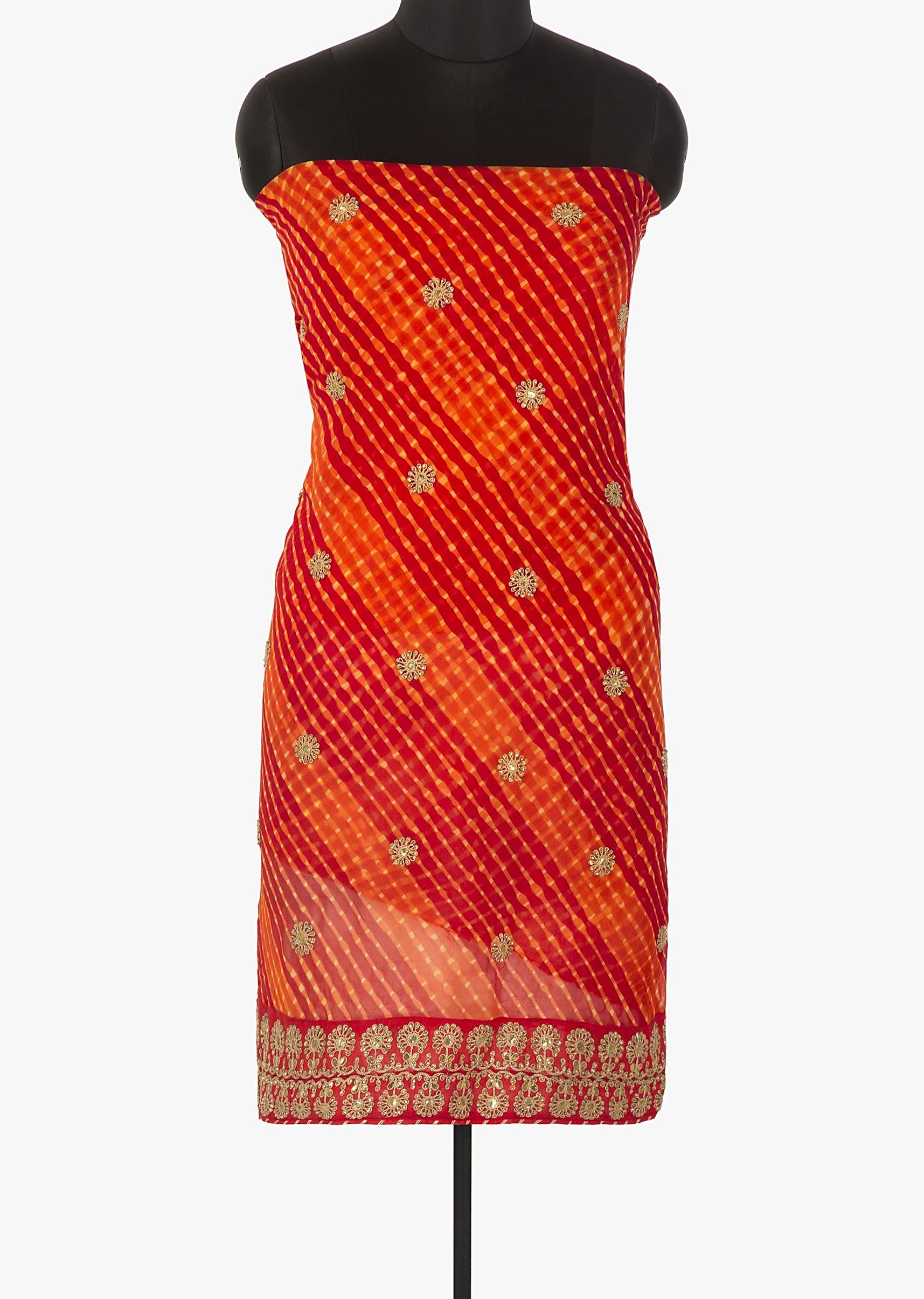 ce92812892 Red and orange unstitched suit in leheriya cotton with zari and sequin  butti only on KalkiMore Detail