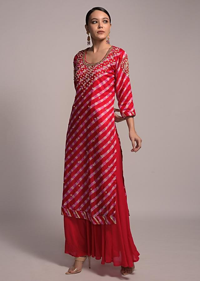 Red And Pink Sharara Suit Set With Lehariya Print And Zardozi Embroidered Roses Online - Kalki Fashion