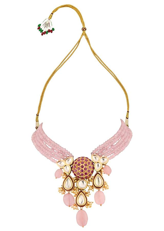 Red And Pink Necklace And Earrings Set With Kundan, Hydro Ruby Stones, Agate Beads, Rose Quartz And Pearls Online - Joules By Radhika