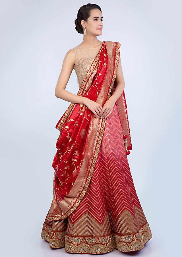 Red and pink shaded cotton silk weaved lehenga with red brocade silk dupatta only on Kalki