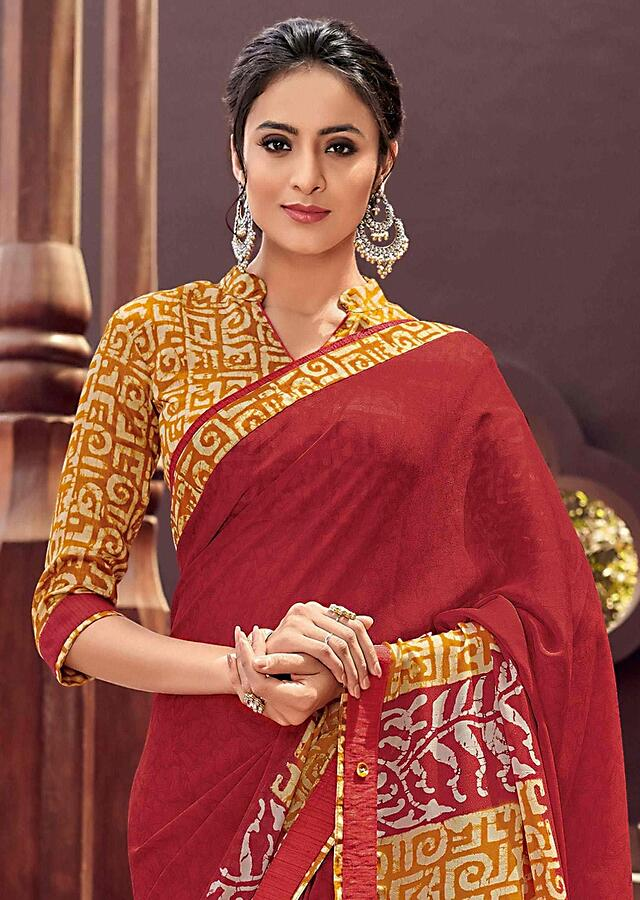 Red And Yellow Saree In Georgette With Printed Yellow Silk Blouse Piece Online - Kalki Fashion