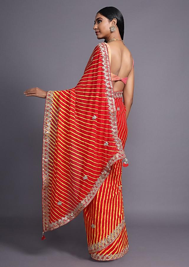 Red And Yellow Saree With Lehariya Print And Gotta Patti Embroidered Border And Floral Buttis Online - Kalki Fashion