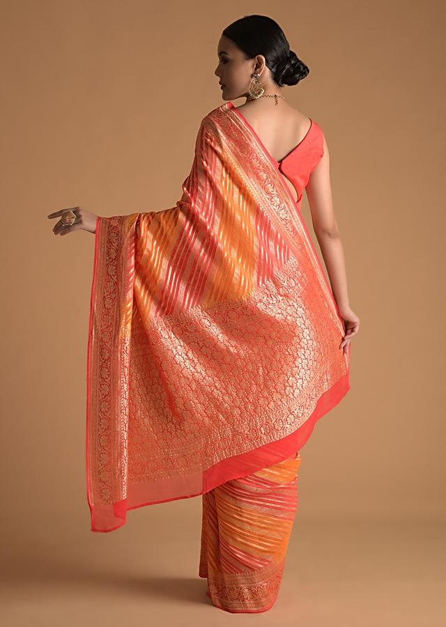 Red And Yellow Shaded khaddi Georgette Saree With Weaved Work In Floral Motif And Stripes Online - Kalki Fashion