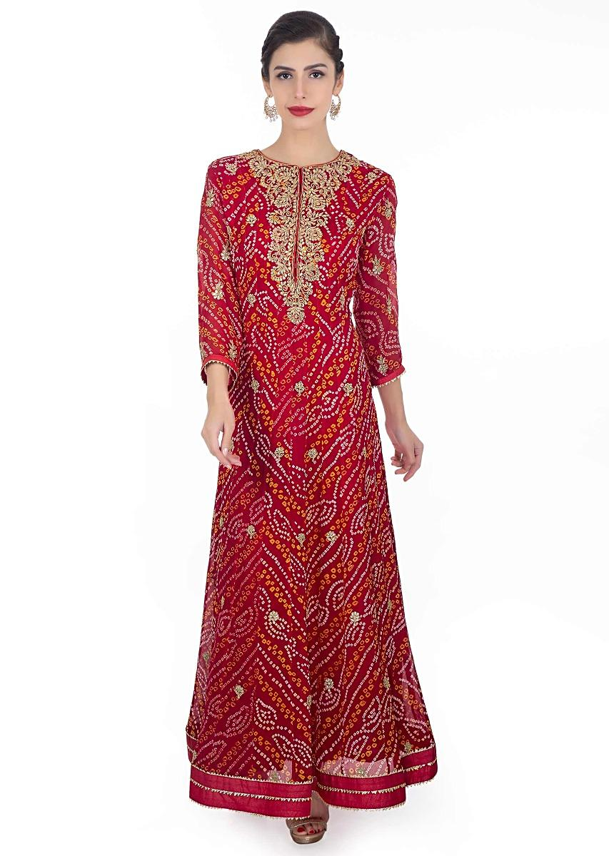 24cf9d6de2 Red bandhani georgette anarkali suit paired with red chiffon dupatta with  lace border only on Kalki