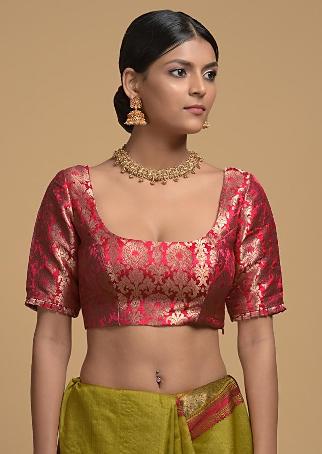Red Blouse In Brocade Silk With Pleated Frill On the Sleeves Online - Kalki Fashion