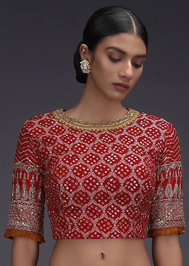 Red Blouse In Georgette With Bandhani Print And Weaved Moroccan Pattern Online - Kalki Fashion