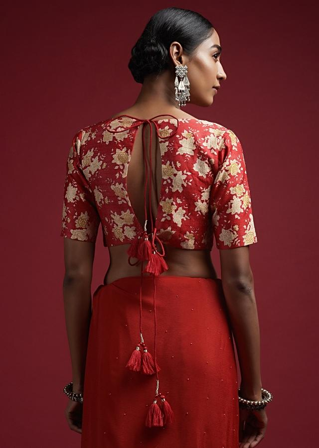 Red Blouse In Raw Silk With Floral Print And Half Sleeves Online - Kalki Fashion