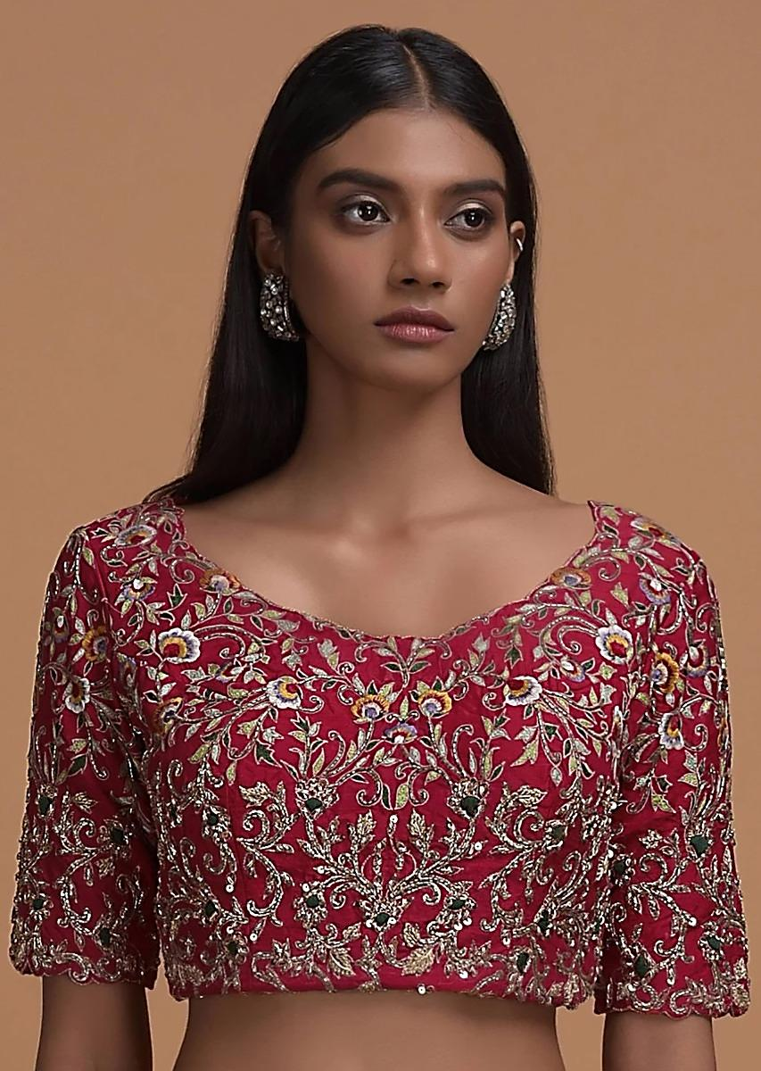 Red Blouse In Raw Silk With Resham And Zardozi Embroidered Floral Jaal Online - Kalki Fashion