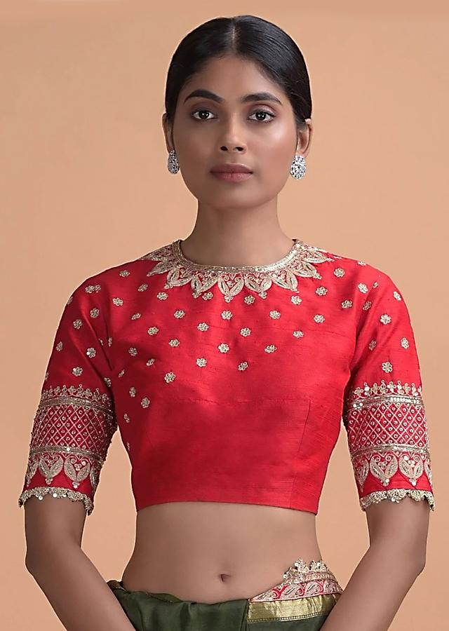 Red Blouse In Raw Silk With Zari Embroidery Work Online - Kalki Fashion