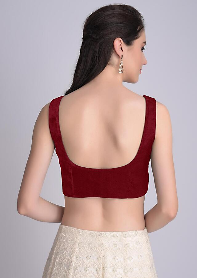 Red Blouse In Velvet With Front Zip Opening Online - Kalki Fashion