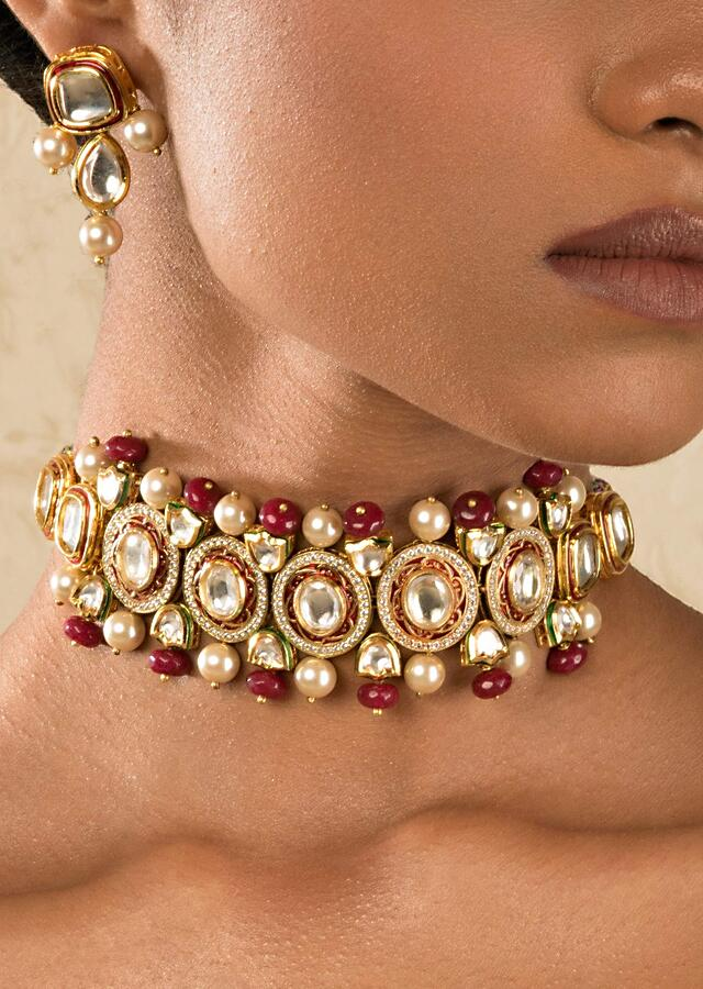 Red Choker Necklace And Earrings Set With Kundan And Shell Pearls Online - Joules By Radhika